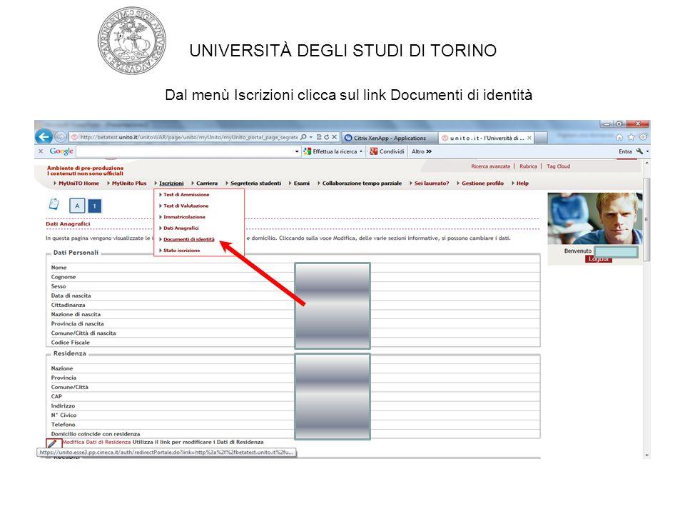 Se il documento risulta scaduto Inserisci il nuovo documento premendo il bottone INSERISCI NUOVO DOCUMENTO DI IDENTITA' UNIVERSITÀ DEGLI STUDI DI TORINO