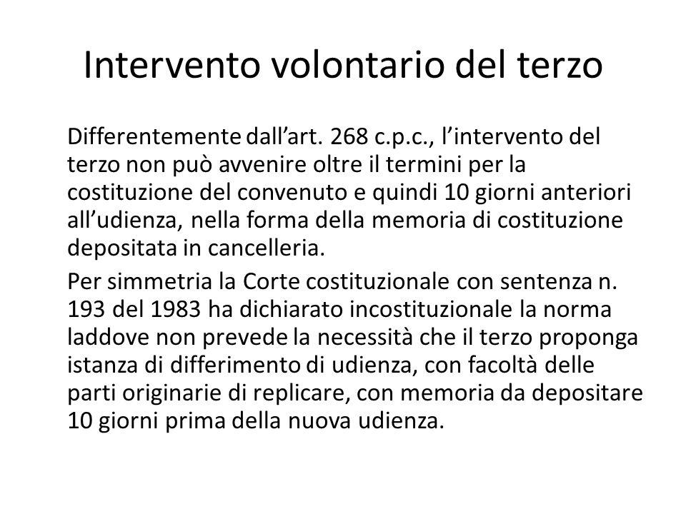 Intervento volontario del terzo Differentemente dall'art. 268 c.p.c., l'intervento del terzo non può avvenire oltre il termini per la costituzione del