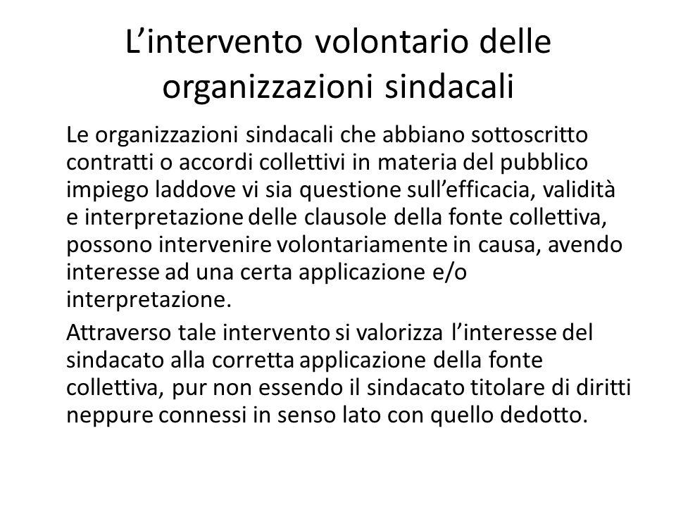 L'intervento volontario delle organizzazioni sindacali Le organizzazioni sindacali che abbiano sottoscritto contratti o accordi collettivi in materia