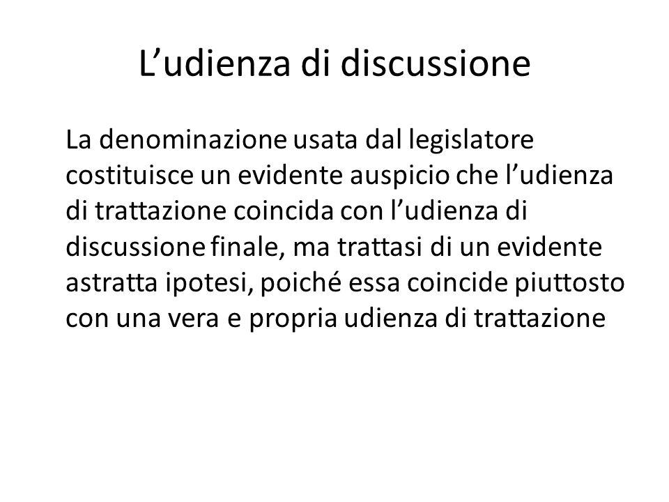L'udienza di discussione La denominazione usata dal legislatore costituisce un evidente auspicio che l'udienza di trattazione coincida con l'udienza d