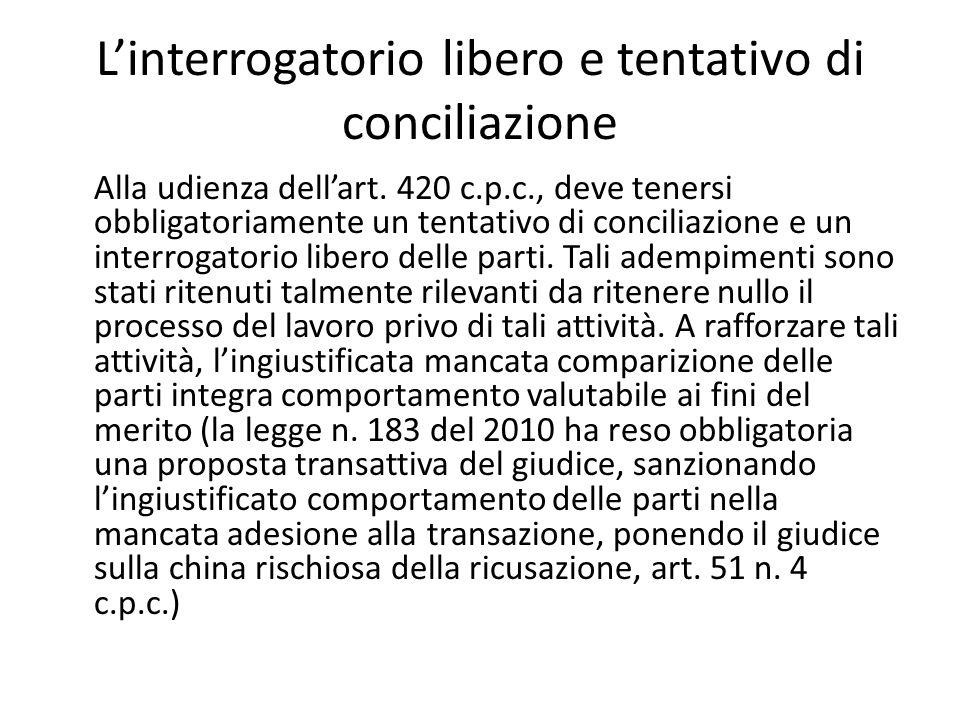 L'interrogatorio libero e tentativo di conciliazione Alla udienza dell'art. 420 c.p.c., deve tenersi obbligatoriamente un tentativo di conciliazione e