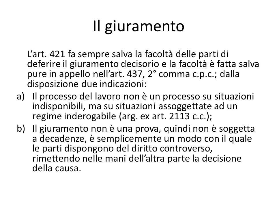 Il giuramento L'art. 421 fa sempre salva la facoltà delle parti di deferire il giuramento decisorio e la facoltà è fatta salva pure in appello nell'ar