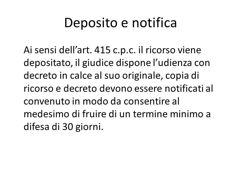 Deposito e notifica Ai sensi dell'art.415 c.p.c.