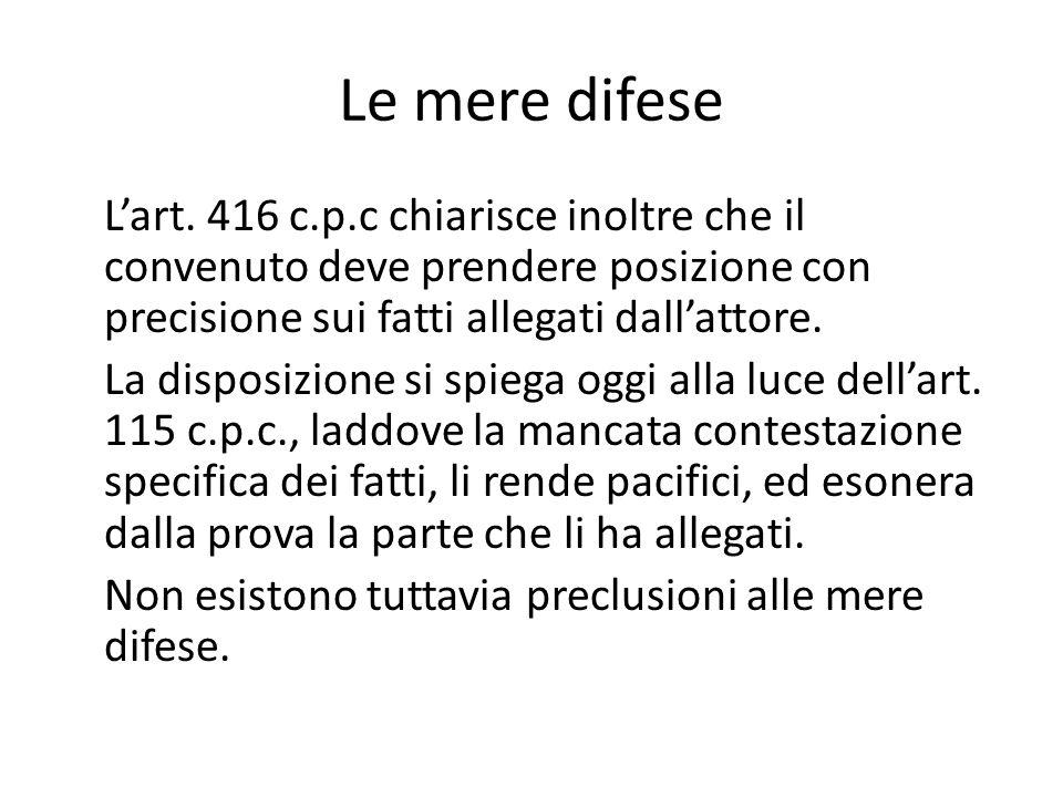 Le mere difese L'art. 416 c.p.c chiarisce inoltre che il convenuto deve prendere posizione con precisione sui fatti allegati dall'attore. La disposizi
