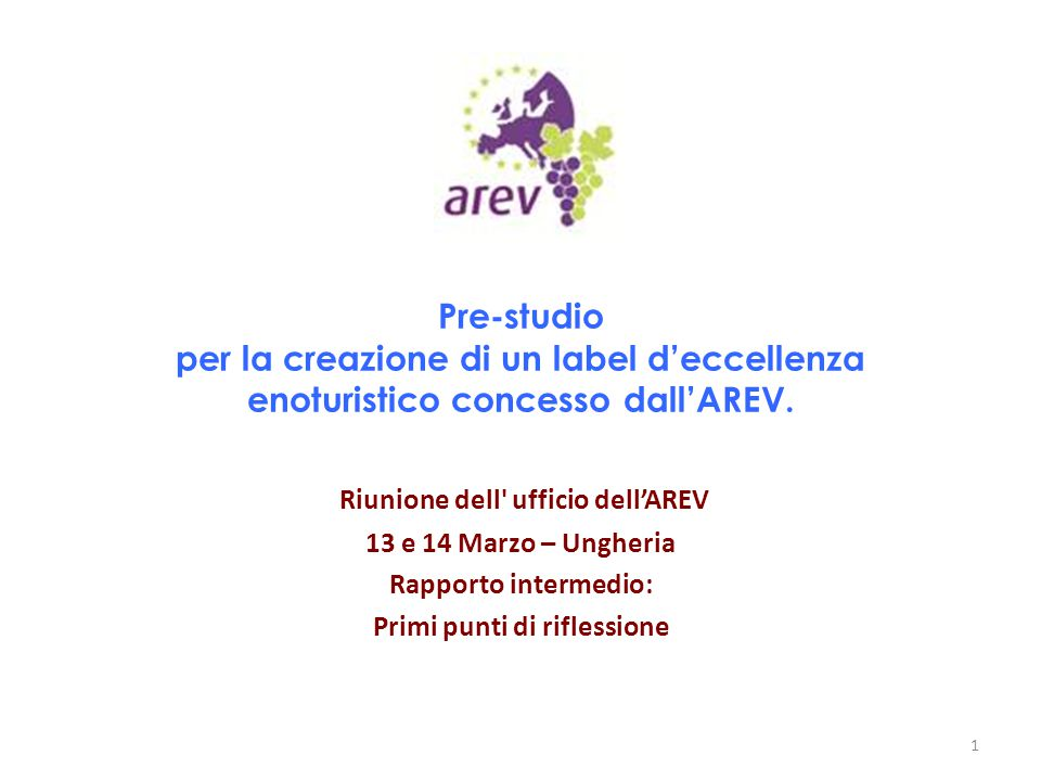 Pre-studio per la creazione di un label d'eccellenza enoturistico concesso dall'AREV. Riunione dell' ufficio dell'AREV 13 e 14 Marzo – Ungheria Rappor