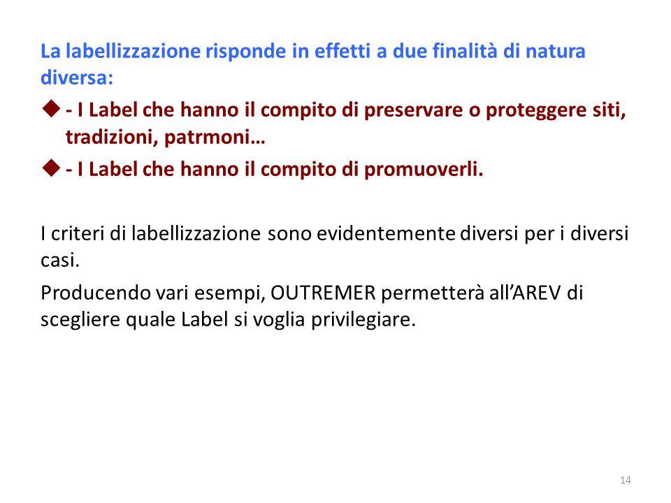 La labellizzazione risponde in effetti a due finalità di natura diversa:  - I Label che hanno il compito di preservare o proteggere siti, tradizioni,