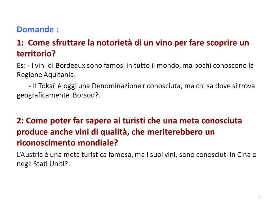 Domande : 1: Come sfruttare la notorietà di un vino per fare scoprire un territorio? Es: - I vini di Bordeaux sono famosi in tutto il mondo, ma pochi