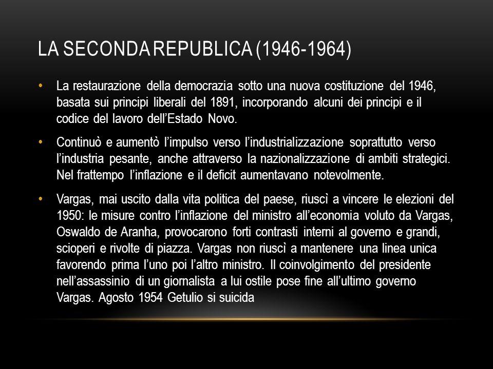 LA SECONDA REPUBLICA (1946-1964) La restaurazione della democrazia sotto una nuova costituzione del 1946, basata sui principi liberali del 1891, incor