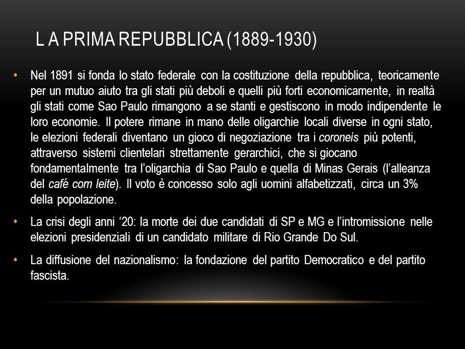 L A PRIMA REPUBBLICA (1889-1930) Nel 1891 si fonda lo stato federale con la costituzione della repubblica, teoricamente per un mutuo aiuto tra gli sta