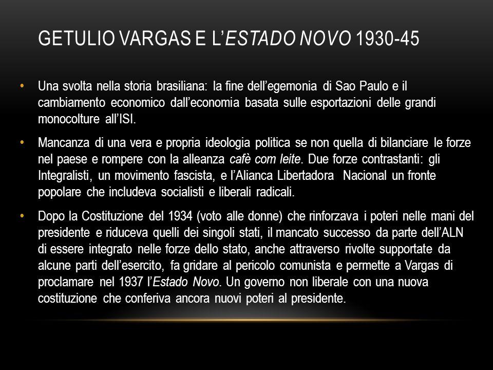 GETULIO VARGAS E L' ESTADO NOVO 1930-45 Una svolta nella storia brasiliana: la fine dell'egemonia di Sao Paulo e il cambiamento economico dall'economi