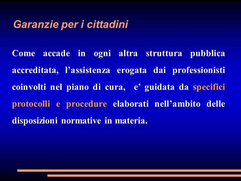 Garanzie per i cittadini Come accade in ogni altra struttura pubblica accreditata, l'assistenza erogata dai professionisti coinvolti nel piano di cura