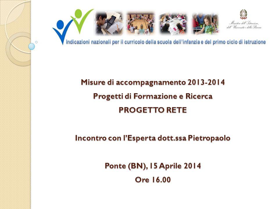 Misure di accompagnamento 2013-2014 Progetti di Formazione e Ricerca PROGETTO RETE Incontro con l'Esperta dott.ssa Pietropaolo Ponte (BN), 15 Aprile 2