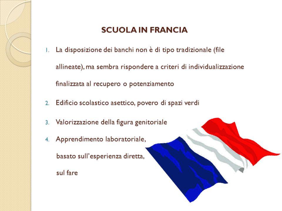 SCUOLA IN FRANCIA 1. La disposizione dei banchi non è di tipo tradizionale (file allineate), ma sembra rispondere a criteri di individualizzazione fin