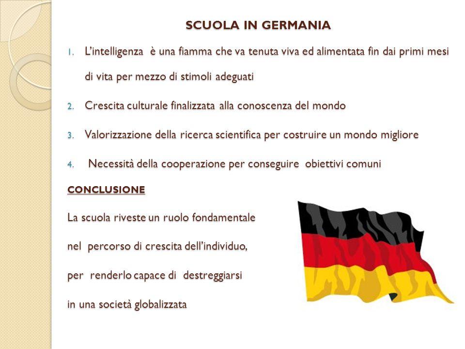 SCUOLA IN GERMANIA 1. L'intelligenza è una fiamma che va tenuta viva ed alimentata fin dai primi mesi di vita per mezzo di stimoli adeguati 2. Crescit