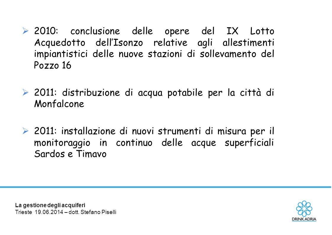 La gestione degli acquiferi Trieste 19.06.2014 – dott. Stefano Piselli  2010: conclusione delle opere del IX Lotto Acquedotto dell'Isonzo relative ag