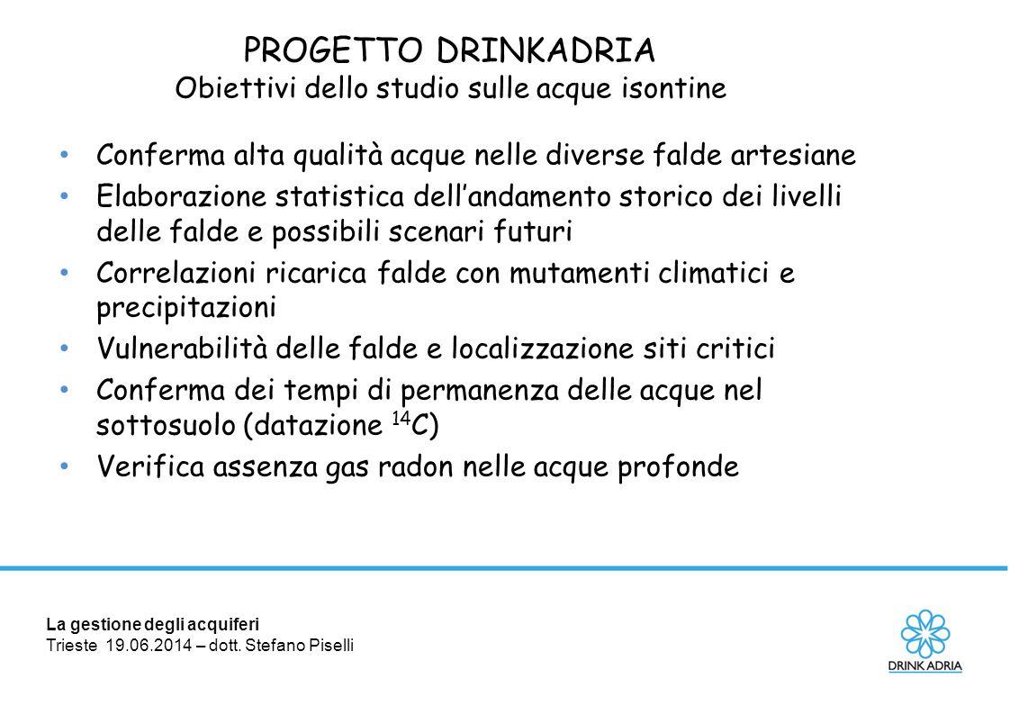 La gestione degli acquiferi Trieste 19.06.2014 – dott. Stefano Piselli PROGETTO DRINKADRIA Obiettivi dello studio sulle acque isontine Conferma alta q