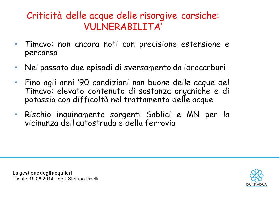 La gestione degli acquiferi Trieste 19.06.2014 – dott. Stefano Piselli Criticità delle acque delle risorgive carsiche: VULNERABILITA' Timavo: non anco