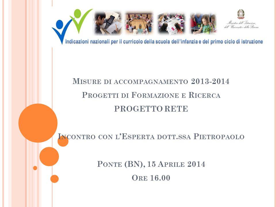M ISURE DI ACCOMPAGNAMENTO 2013-2014 P ROGETTI DI F ORMAZIONE E R ICERCA PROGETTO RETE I NCONTRO CON L 'E SPERTA DOTT.