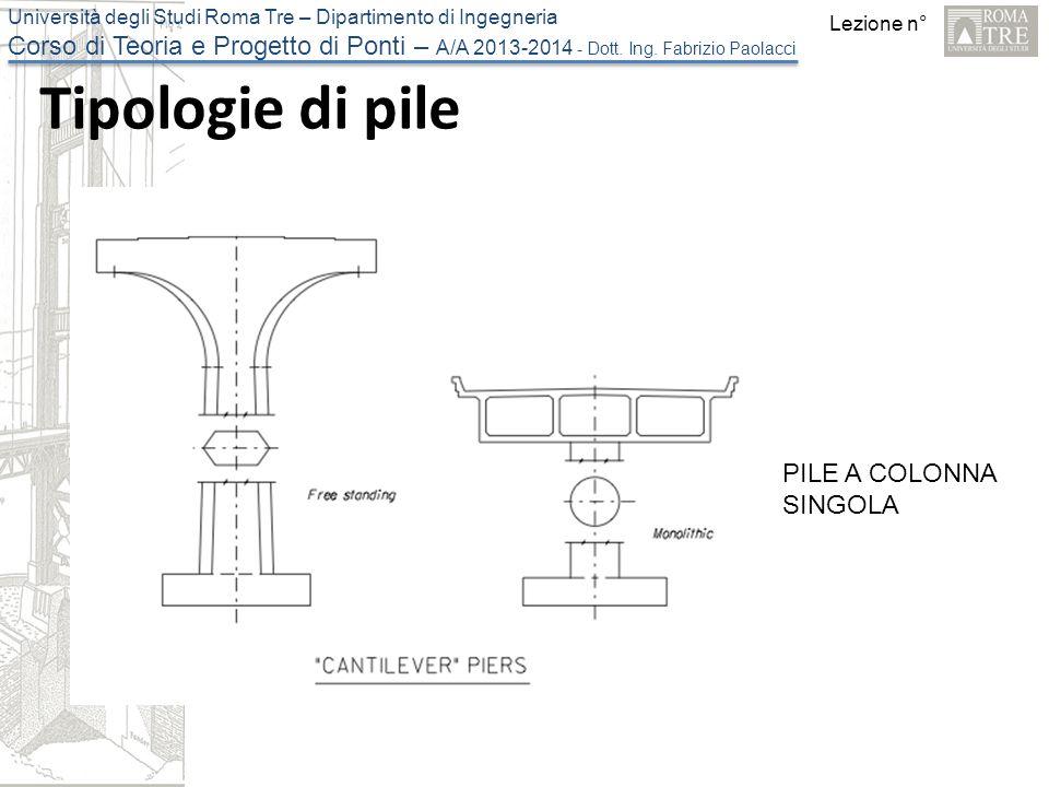 Lezione n° Università degli Studi Roma Tre – Dipartimento di Ingegneria Corso di Teoria e Progetto di Ponti – A/A 2013-2014 - Dott.