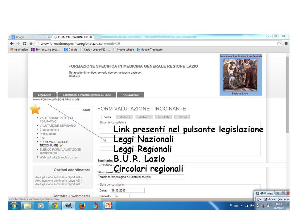 Link presenti nel pulsante legislazione Leggi Nazionali Leggi Regionali B.U.R. Lazio Circolari regionali