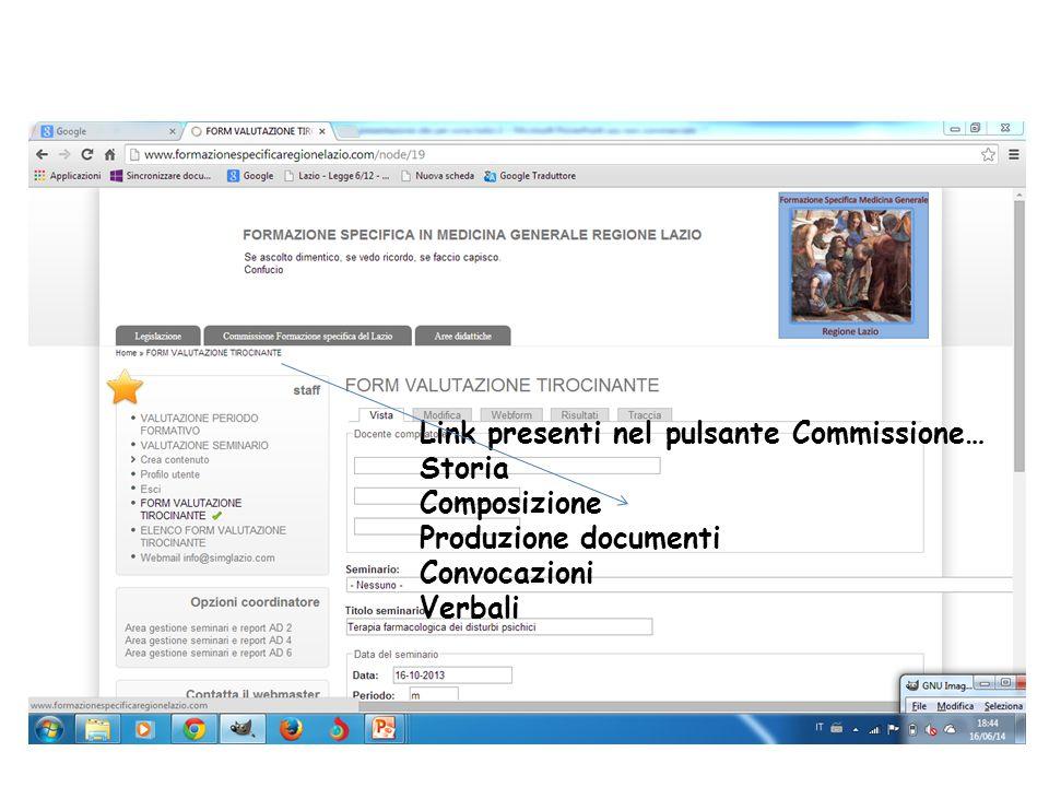 Link presenti nel pulsante Commissione… Storia Composizione Produzione documenti Convocazioni Verbali