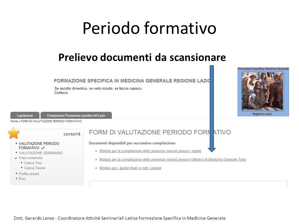 Periodo formativo Prelievo documenti da scansionare Dott. Gerardo Lanza - Coordinatore Attività Seminariali Latina Formazione Specifica in Medicina Ge
