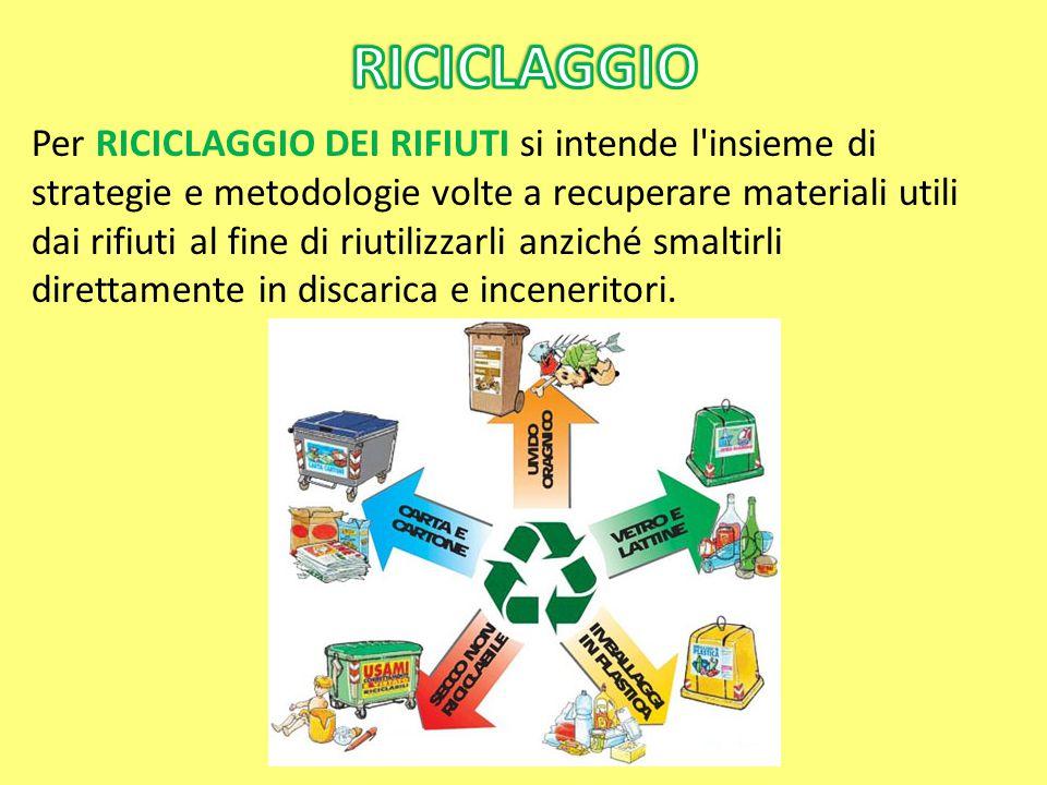 Per RICICLAGGIO DEI RIFIUTI si intende l'insieme di strategie e metodologie volte a recuperare materiali utili dai rifiuti al fine di riutilizzarli an