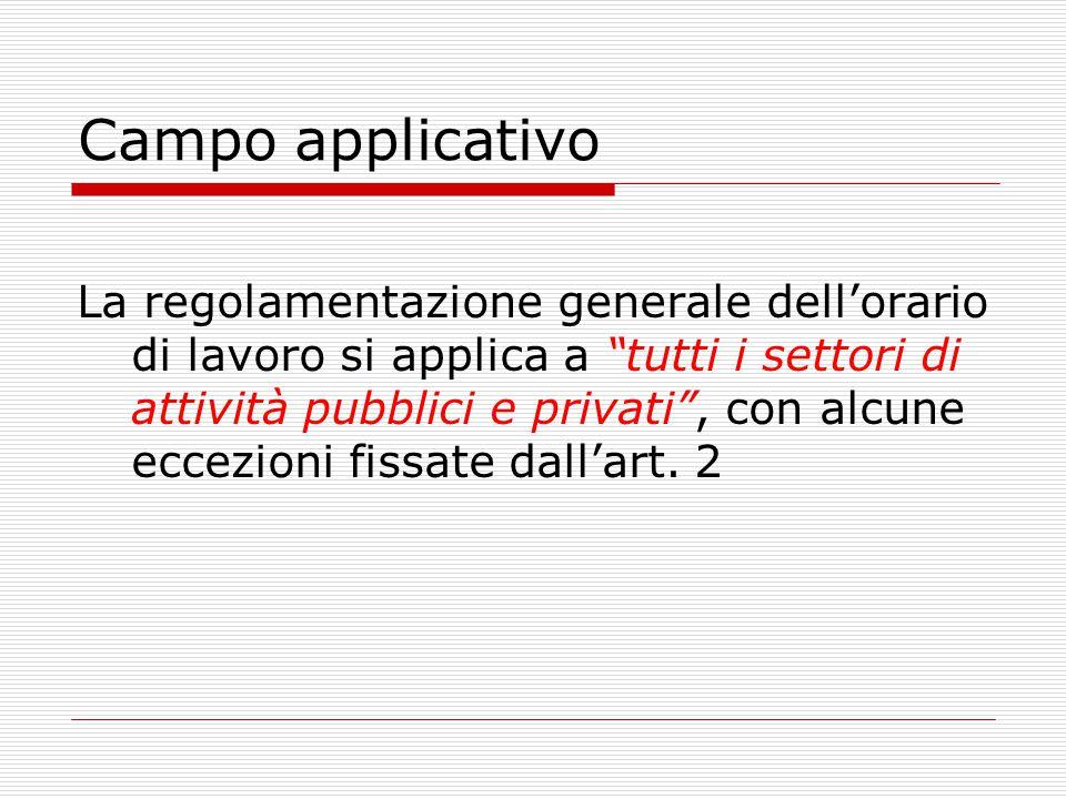 Campo applicativo La regolamentazione generale dell'orario di lavoro si applica a tutti i settori di attività pubblici e privati , con alcune eccezioni fissate dall'art.
