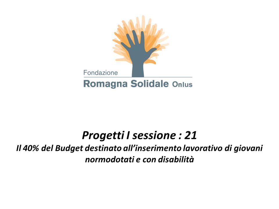 Progetti I sessione : 21 Il 40% del Budget destinato all'inserimento lavorativo di giovani normodotati e con disabilità