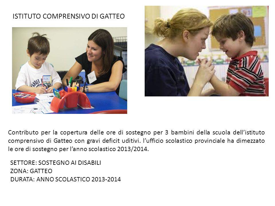 ISTITUTO COMPRENSIVO DI GATTEO Contributo per la copertura delle ore di sostegno per 3 bambini della scuola dell'istituto comprensivo di Gatteo con gravi deficit uditivi.