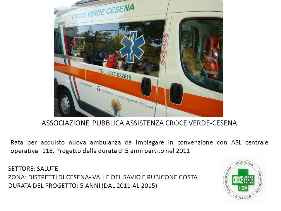 Rata per acquisto nuova ambulanza da impiegare in convenzione con ASL centrale operativa 118. Progetto della durata di 5 anni partito nel 2011 SETTORE