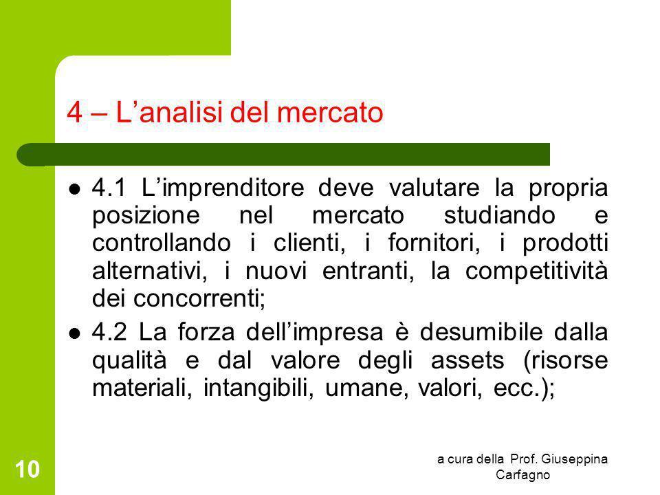 a cura della Prof. Giuseppina Carfagno 10 4 – L'analisi del mercato 4.1 L'imprenditore deve valutare la propria posizione nel mercato studiando e cont
