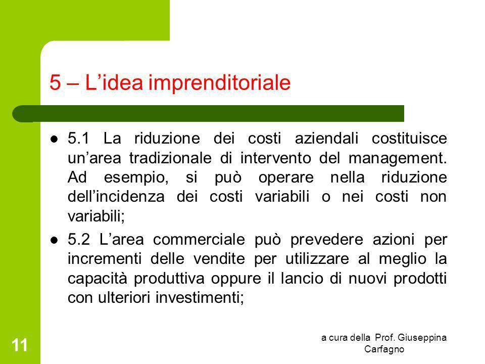 a cura della Prof. Giuseppina Carfagno 11 5 – L'idea imprenditoriale 5.1 La riduzione dei costi aziendali costituisce un'area tradizionale di interven