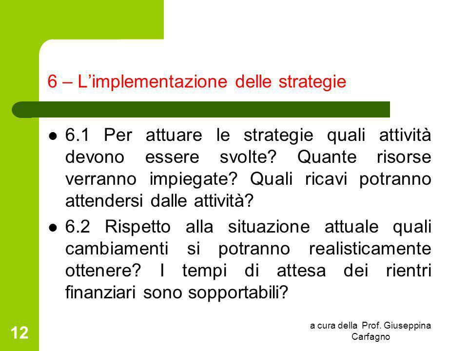 a cura della Prof. Giuseppina Carfagno 12 6 – L'implementazione delle strategie 6.1 Per attuare le strategie quali attività devono essere svolte? Quan