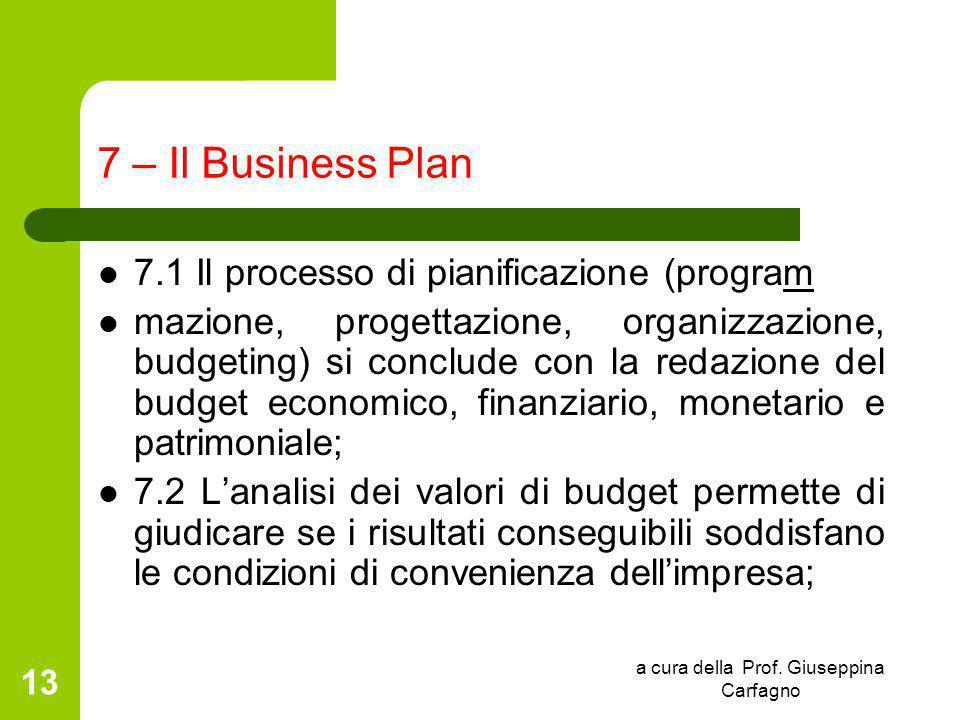 a cura della Prof. Giuseppina Carfagno 13 7 – Il Business Plan 7.1 Il processo di pianificazione (program mazione, progettazione, organizzazione, budg