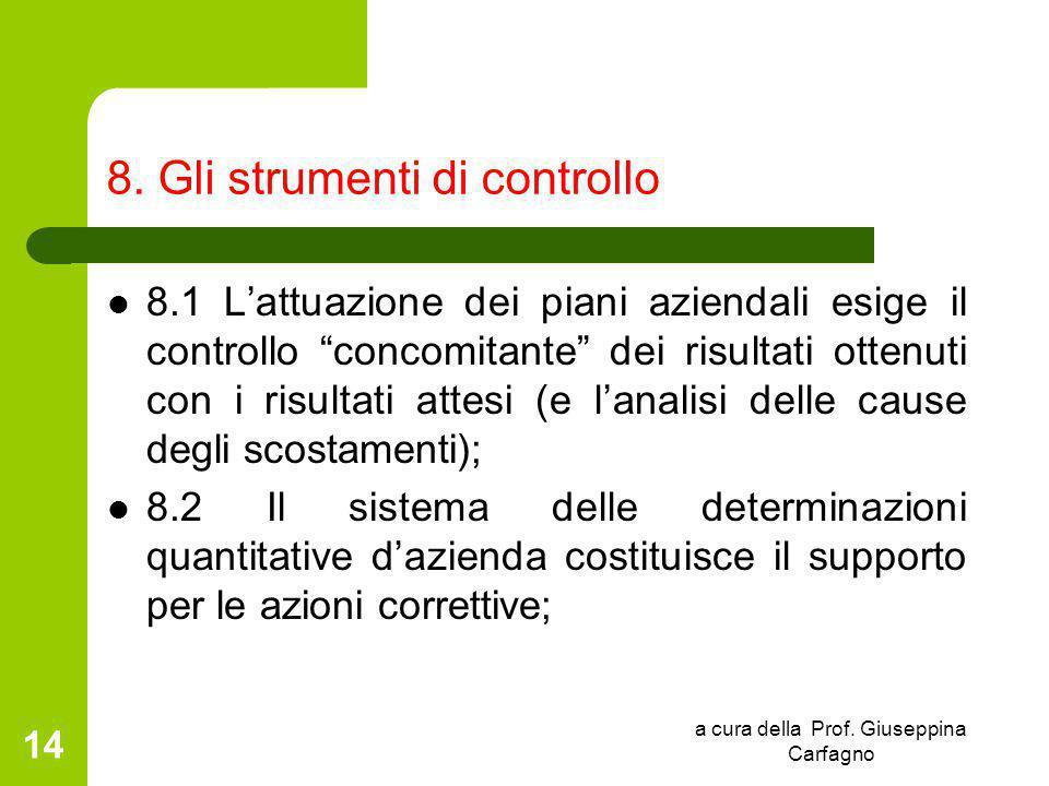 """a cura della Prof. Giuseppina Carfagno 14 8. Gli strumenti di controllo 8.1 L'attuazione dei piani aziendali esige il controllo """"concomitante"""" dei ris"""