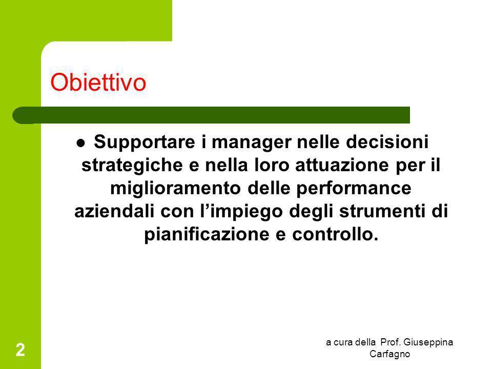 a cura della Prof. Giuseppina Carfagno 2 Obiettivo Supportare i manager nelle decisioni strategiche e nella loro attuazione per il miglioramento delle