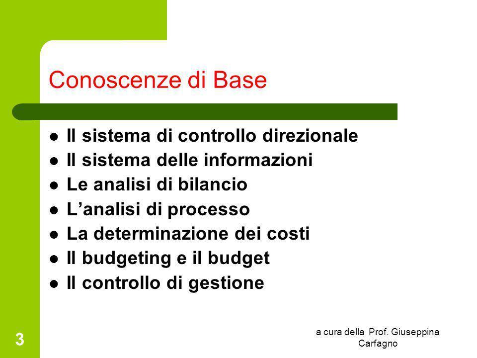 a cura della Prof. Giuseppina Carfagno 3 Conoscenze di Base Il sistema di controllo direzionale Il sistema delle informazioni Le analisi di bilancio L
