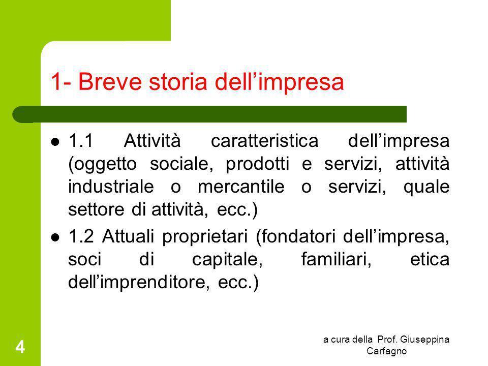 a cura della Prof. Giuseppina Carfagno 4 1- Breve storia dell'impresa 1.1 Attività caratteristica dell'impresa (oggetto sociale, prodotti e servizi, a