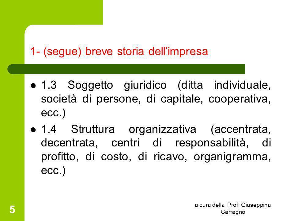 a cura della Prof. Giuseppina Carfagno 5 1- (segue) breve storia dell'impresa 1.3 Soggetto giuridico (ditta individuale, società di persone, di capita