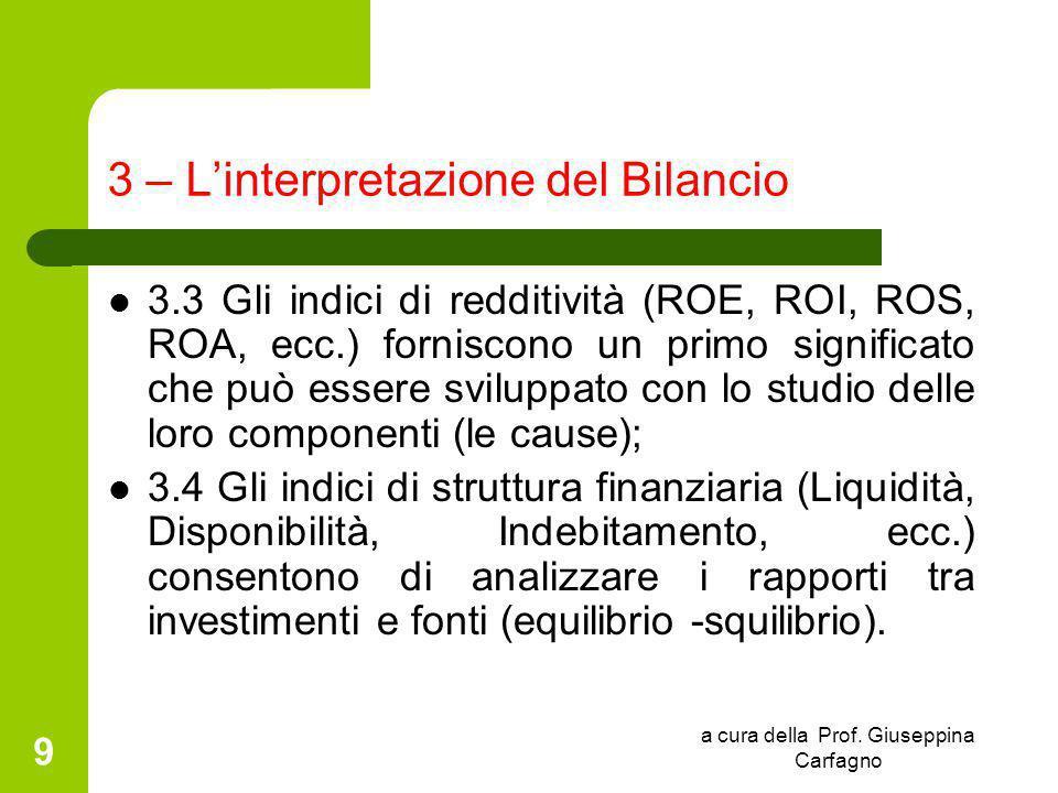 a cura della Prof. Giuseppina Carfagno 9 3 – L'interpretazione del Bilancio 3.3 Gli indici di redditività (ROE, ROI, ROS, ROA, ecc.) forniscono un pri