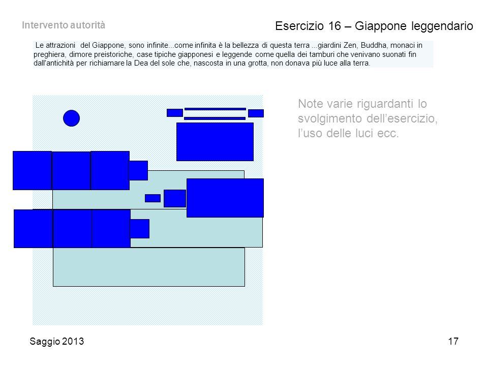 Saggio 201317 Esercizio 16 – Giappone leggendario Note varie riguardanti lo svolgimento dell'esercizio, l'uso delle luci ecc.