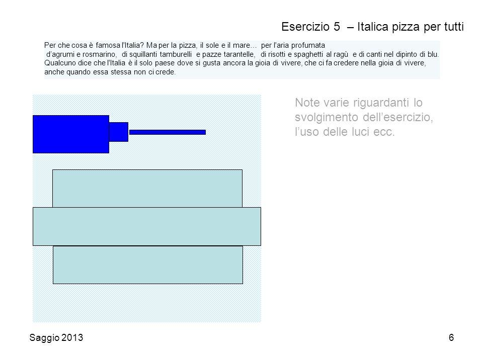 Saggio 20136 Esercizio 5 – Italica pizza per tutti Note varie riguardanti lo svolgimento dell'esercizio, l'uso delle luci ecc.