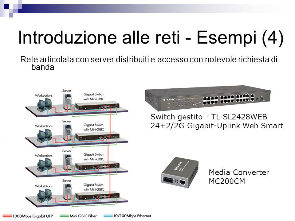 Introduzione alle reti - Esempi (4) Rete articolata con server distribuiti e accesso con notevole richiesta di banda Switch gestito - TL-SL2428WEB 24+