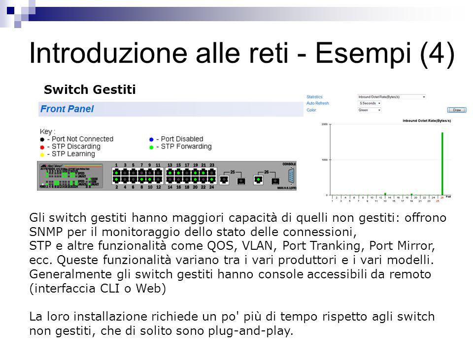Introduzione alle reti - Esempi (4) Gli switch gestiti hanno maggiori capacità di quelli non gestiti: offrono SNMP per il monitoraggio dello stato del