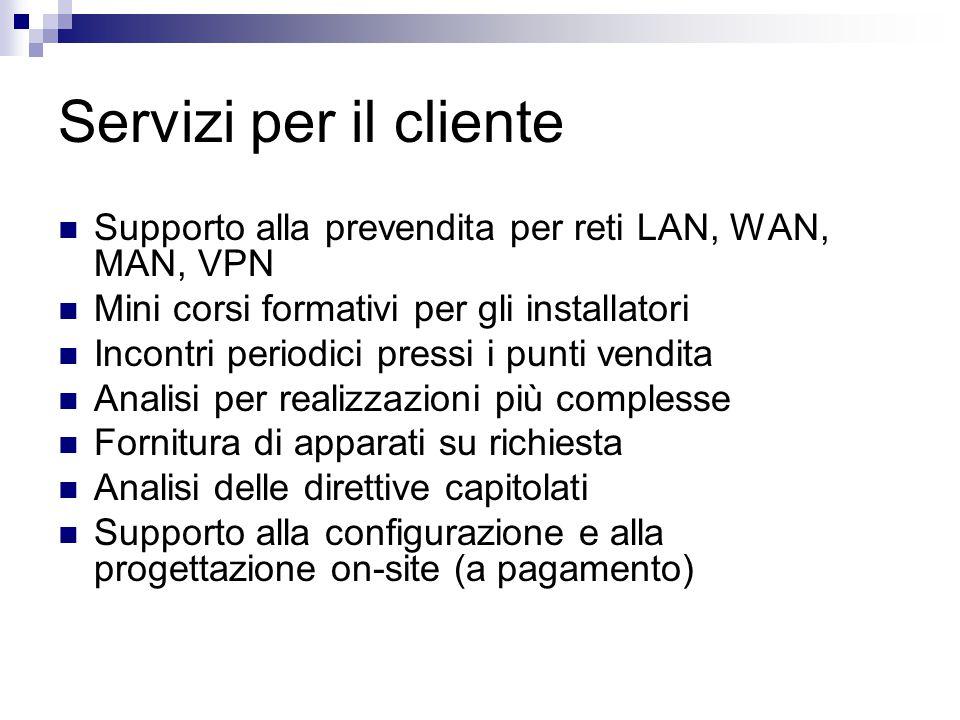 Servizi per il cliente Supporto alla prevendita per reti LAN, WAN, MAN, VPN Mini corsi formativi per gli installatori Incontri periodici pressi i punt