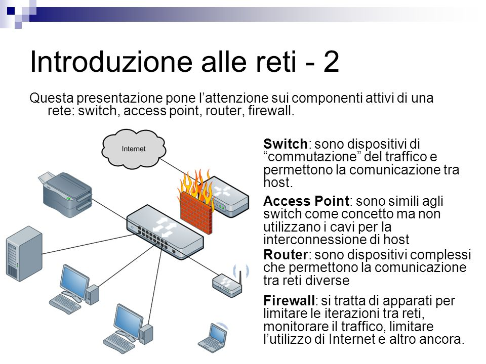 Introduzione alle reti - 2 Questa presentazione pone l'attenzione sui componenti attivi di una rete: switch, access point, router, firewall. Switch: s