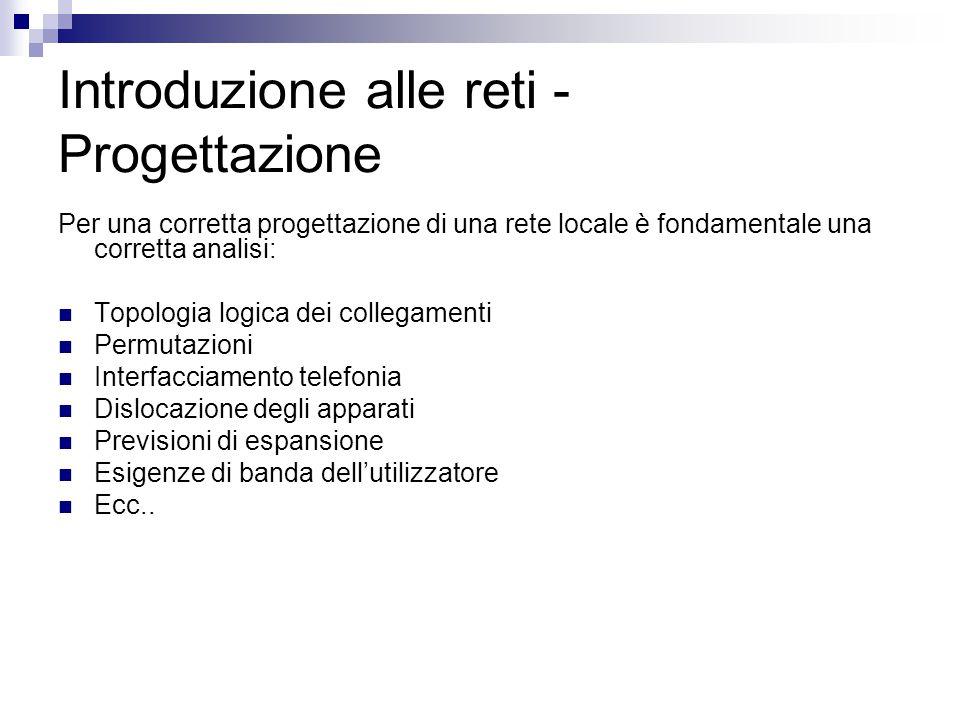 Introduzione alle reti - Progettazione Per una corretta progettazione di una rete locale è fondamentale una corretta analisi: Topologia logica dei col