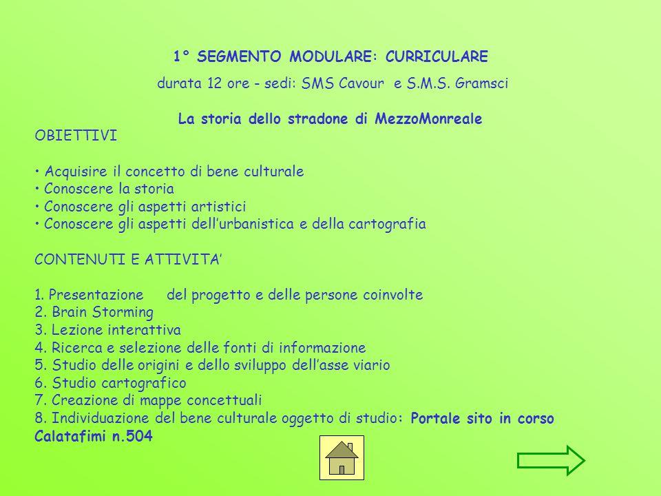 1° SEGMENTO MODULARE: CURRICULARE durata 12 ore - sedi: SMS Cavour e S.M.S.