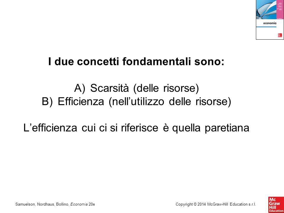 Samuelson, Nordhaus, Bollino, Economia 20eCopyright © 2014 McGraw-Hill Education s.r.l. I due concetti fondamentali sono: A)Scarsità (delle risorse) B